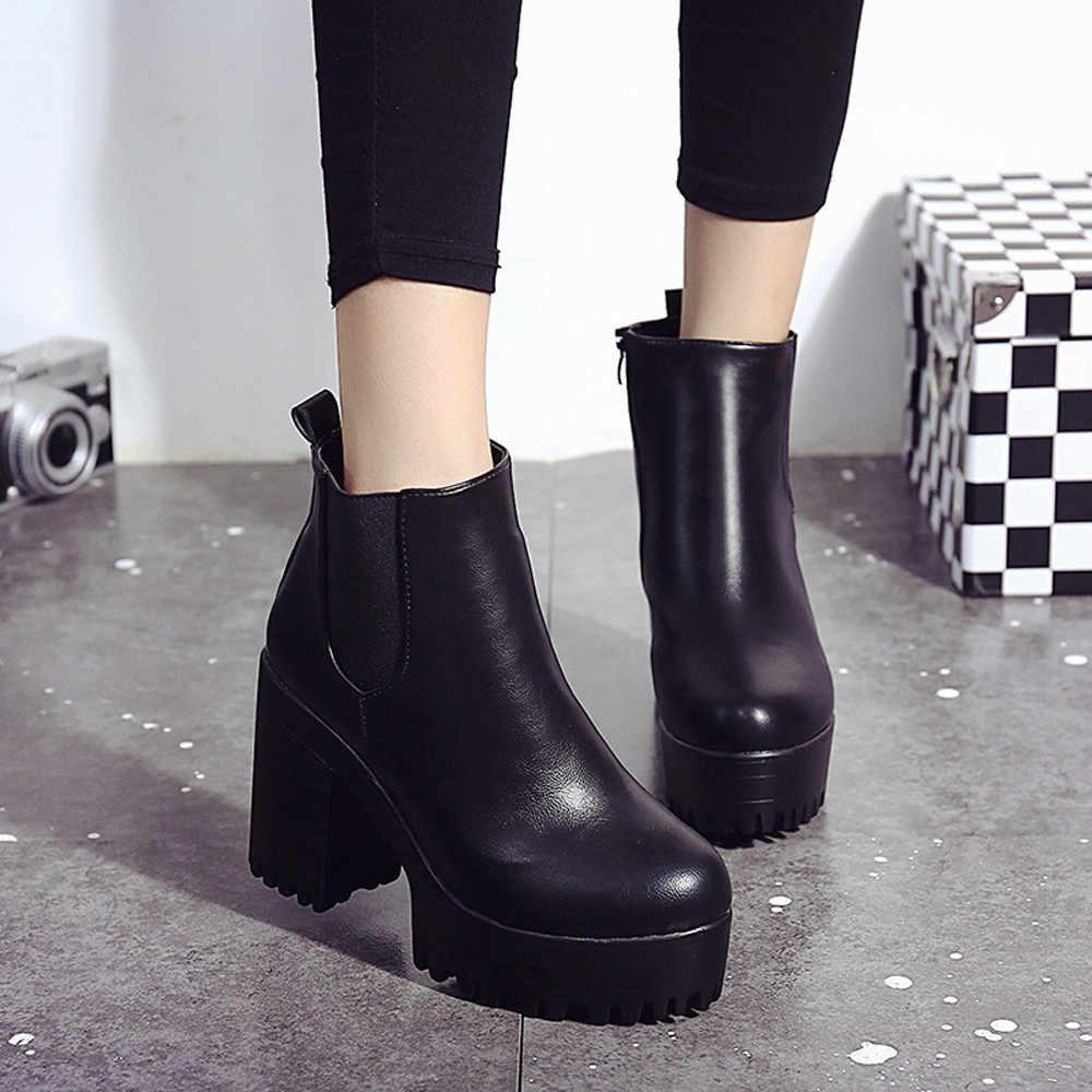 SAGACE/2018 г., женские ботинки на высоком каблуке кожаные туфли-лодочки на платформе с квадратным каблуком женские ботильоны фирменного дизайна, женская обувь