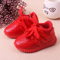 Children Sport Shoes Leather Boys Girls winter children good quality casual shoes Sneakers Comfortable Kids Flats Shoes Red Pink