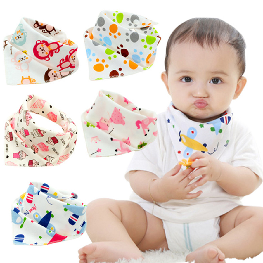 100/% Cotton Fiber Baby Bibs Double Layers Newborn Burp Bib Kid Bandana FO