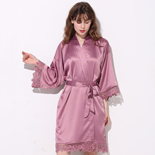 купить Silky Matt Satin Lace Bath Robe Matt Satin Bridesmaid Bride with Lace Robe Bridal Robes Wedding Party Gifts Bathrobe Women Dress дешево