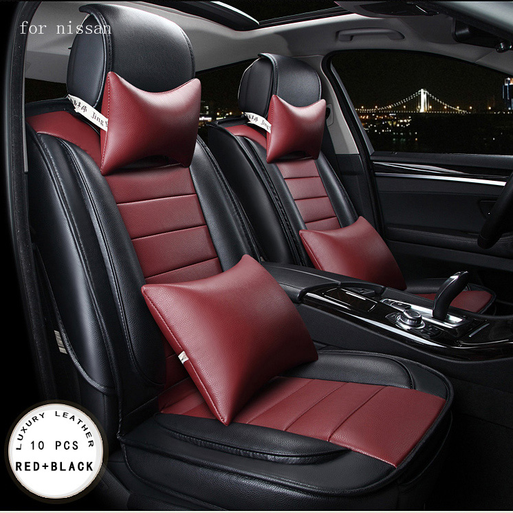 For nissan qashqai juke Murano x-trail  red beige brand designer luxury pu leather front&rear full car seat covers four season car rear trunk security shield shade cargo cover for nissan qashqai 2008 2009 2010 2011 2012 2013 black beige