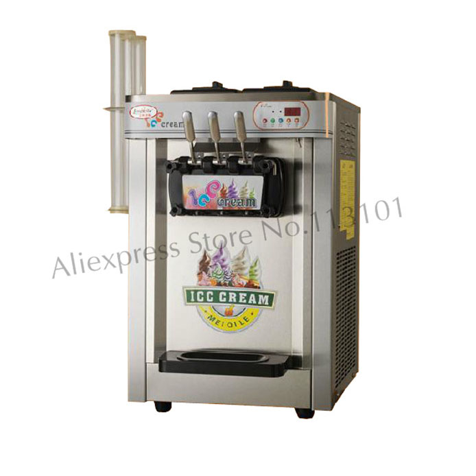 Soft Ice Cream Machine Auto Control Sytem Stainless Steel with Ice Cream Cone Brackets Cone Holder desktop soft ice cream machine stainless steel soft serve maker 220v with digital control ice cream cone 22 25liters h capacity