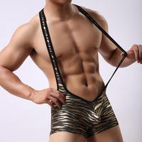 Mężczyzna Sexy Body Teddy Bielizna męska Leopard Wrestling Podkoszulek Rozciągliwy Stocking Ciała Bielizna Nocna Egzotyczne Bielizna Kombinezony
