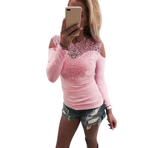 New Women Sexy Solid Lace Off Shoulder Long Sleeve Slim Top T-Shirts Solid O-Neck T-Shirts