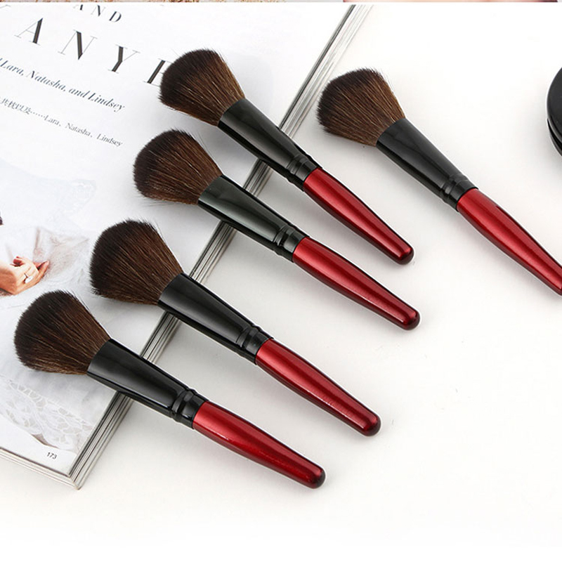 MECOLOR Wooden Handle Makeup Brushes set tools For Face Powder Blusher Foundation eye cosmetics brush Beauty kits 9