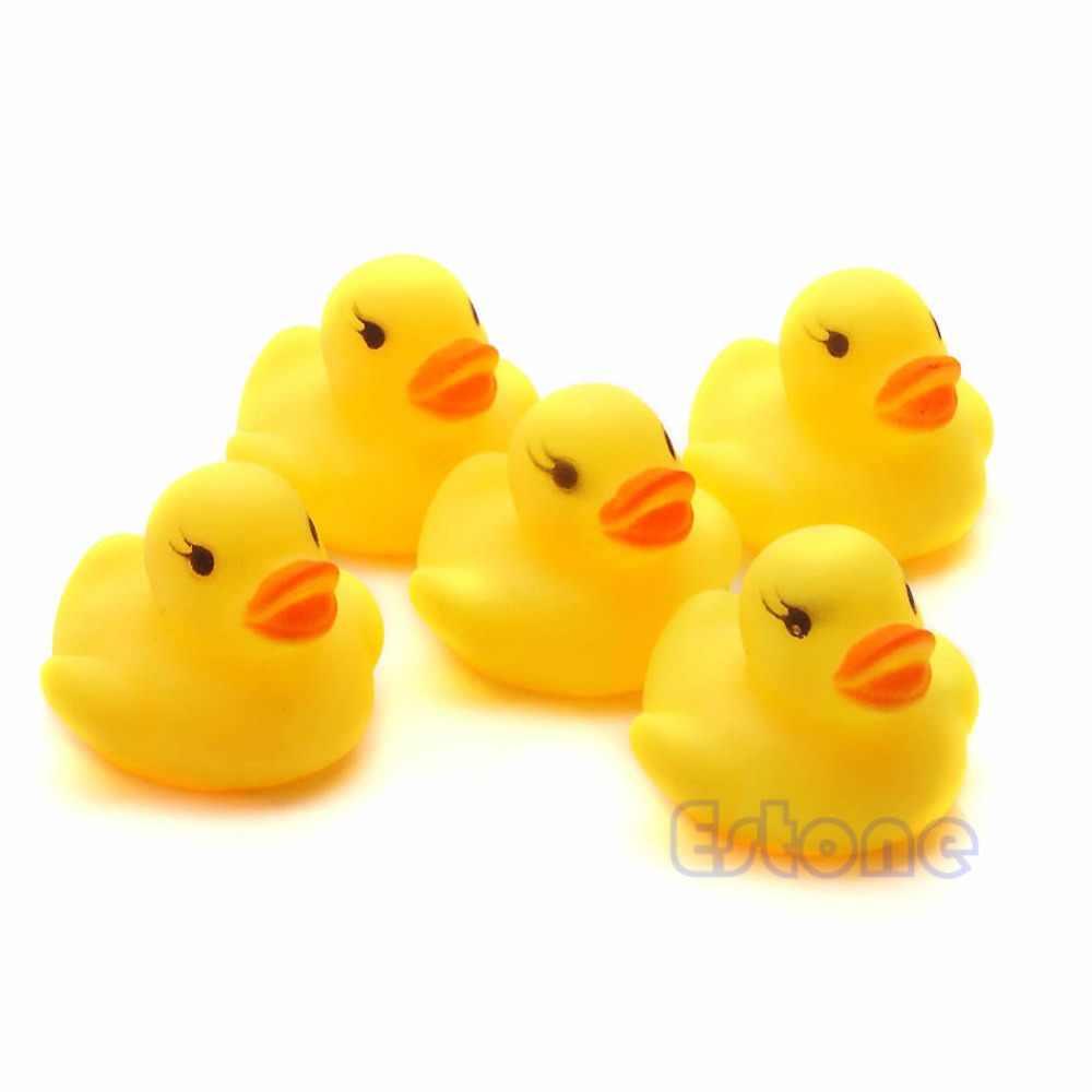 2018 Lot 1/5/10/20Pcs Yellow Baby Children Bath Toys Cute Rubber Squeaky Duck Ducky  JUL19_17