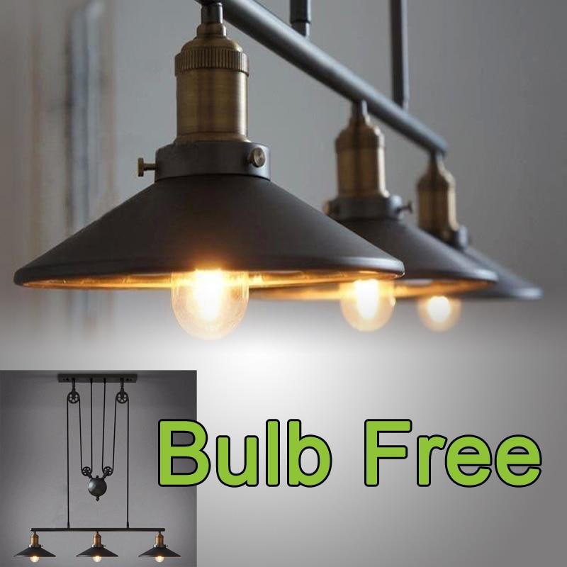 Loft Vintage Pendant Lights Iron Pulley Lamp Kitchen Home Decoration With E27 Edison Bulb Black Painted