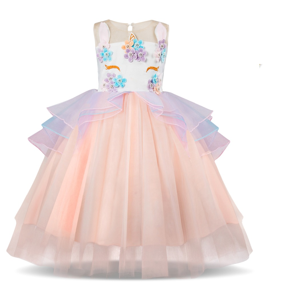 cee18d1562 US $8.98 40% OFF Fancy Unicorn Party Vestido Baby Girl Tutu Dresses Summer  2019 Kids Clothes for Girls Embroidery Flower Girl Birthday Costume 8T-in  ...