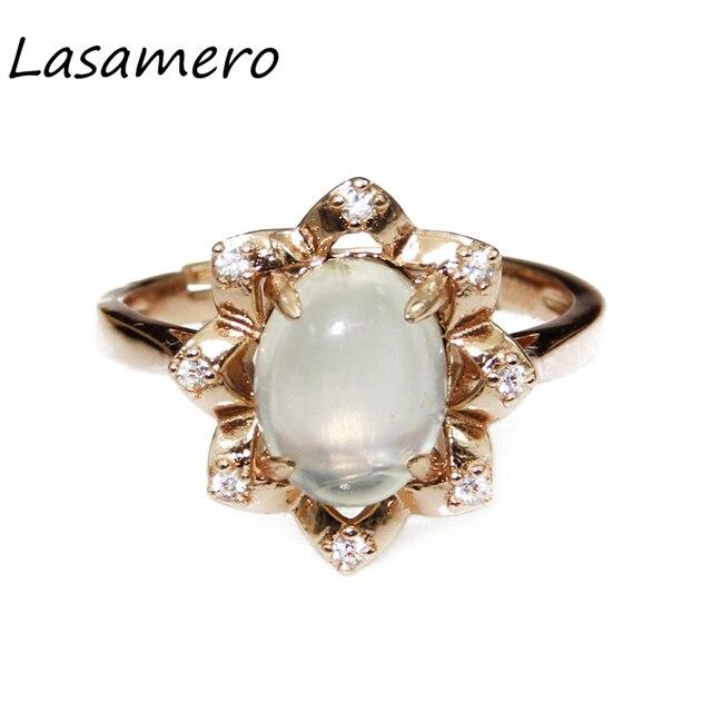 Lasamero 9*7 мм белый Пренит кольцо Твердые стерлингового серебра 925 сказочные женщины Bijouterie fine