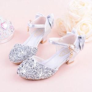 Image 4 - 2019 girls bling 반짝이 bowtie 샌들, 하이힐, kids princess dance performance 여름 신발, 실버 & 핑크, 26 38