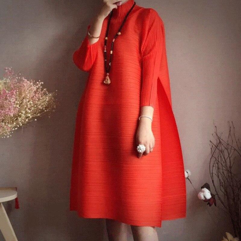 LANMREM2019 spring New Fashion Long Sleeve Turtleneck Solid Color Loose Fold Knee-length A -line Vintage Dress Women EB015
