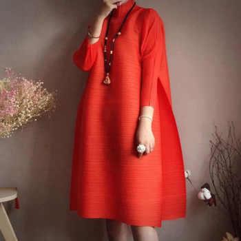 LANMREM2019 spring New Fashion Long Sleeve Turtleneck Solid Color Loose Fold Knee-length A -line Vintage Dress Women EB015 - DISCOUNT ITEM  56% OFF All Category