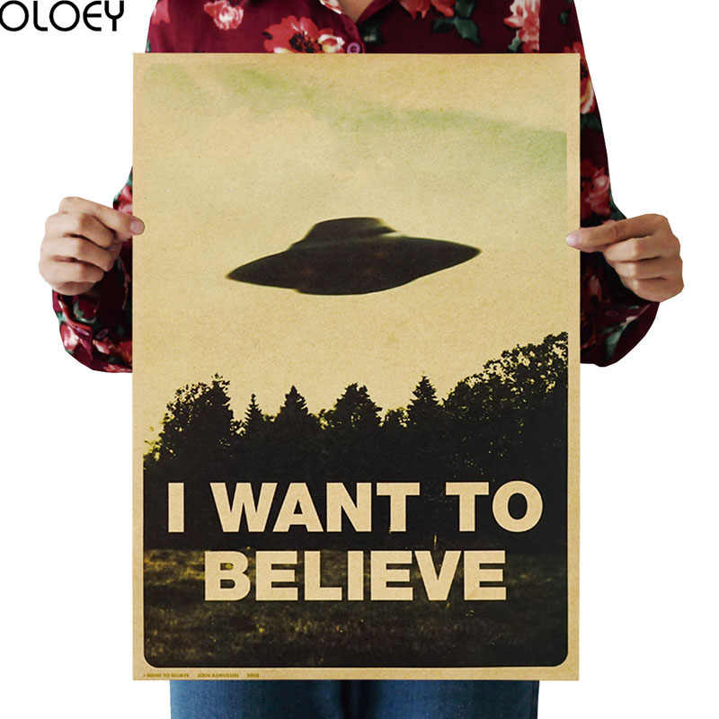 OLOEY 51.5x36cm Vintage Classic Movie The Poster I Want To Believe UFO Poster Bar Home Decor Kraft Paper Painting Wall Sticker
