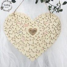 Деревянная форма сердца таможня персонализированное сердце Свадьба Гостевая книга вывеска книга Висячие сердце Свадебная Гостевая книга
