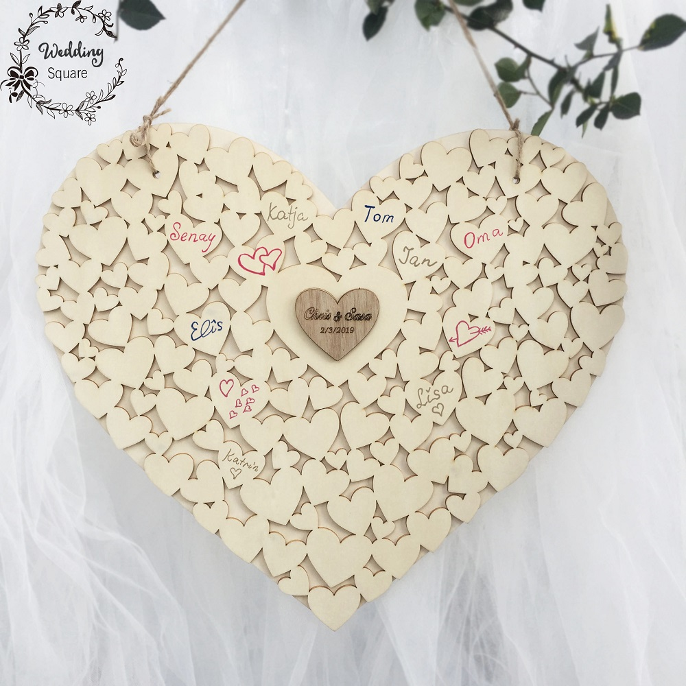 Wooden Heart Shape Customs Personalised Heart Wedding Guestbook Sign Book  Hanging Heart Wedding Guest Book