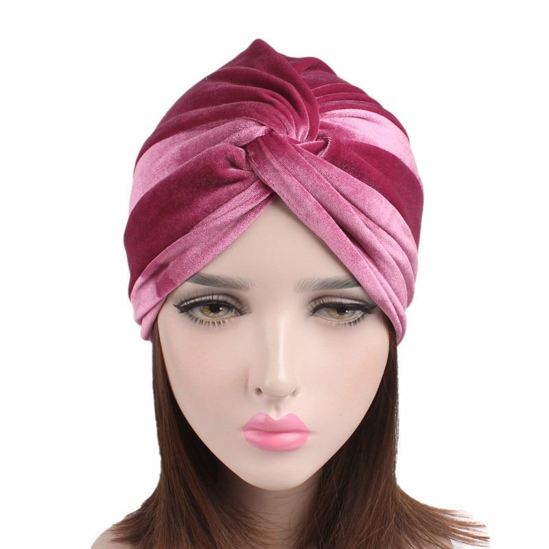 New Muslim Women Hijabs Hats Velvet Cross Turban Dreadlock Sleeping Hat For Hair Loss Bonnet Tube Comfortable Hat