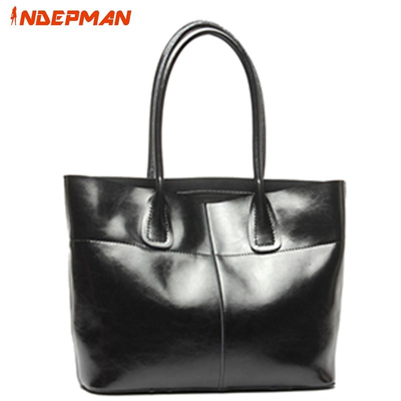 ФОТО Fashion Genuine Leather Shoulder Bag Women Large Capacity Solid Zipper Handbag Casual Tote Ladies Black Brown