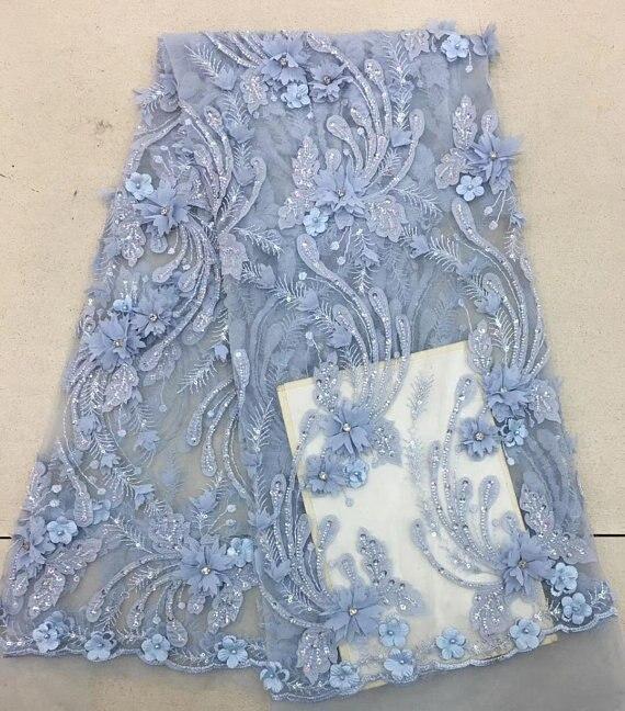5 yards bleu clair robe de mariée dentelle tissu, 3D mousseline de soie fleurs ongle perle haut de gamme européenne dentelle tissu livraison gratuite