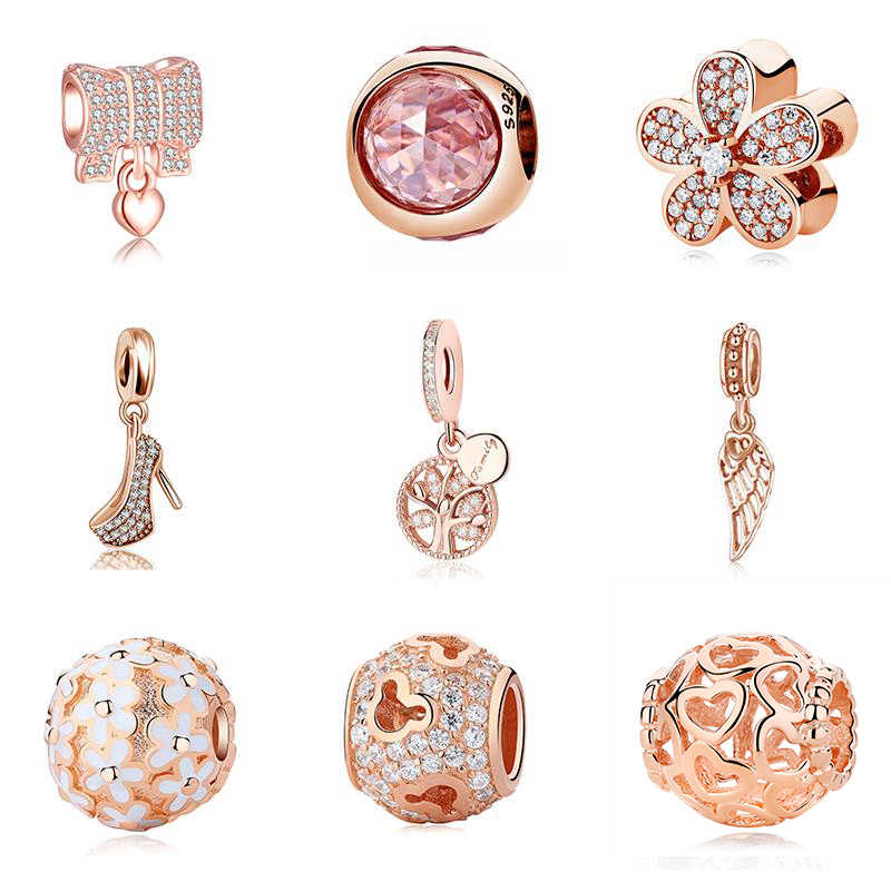 abd61963f Real 925 Sterling Silver Rose Gold Charm Radiant Droplets Crystal Clip  Beads Fits Original Pandora Bracelets