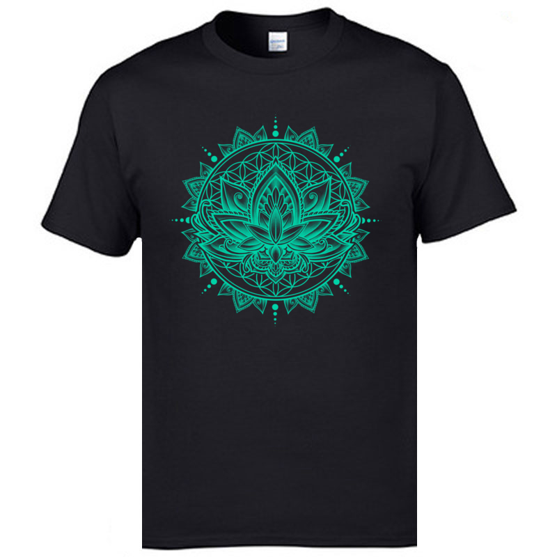 Top Quality Lotus Mandala Flower T Shirts India Vajrayana Lamaism OM ZEN Tshirts Men Deep Meditation Buddhist Cotton T-Shirts