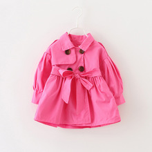 2016new spring autumn coat baby girl cotton solid color double-breasted trench c