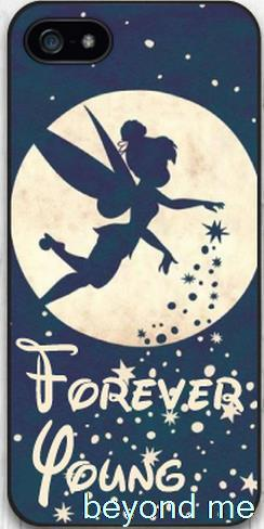 Forever Young Tinkerbell Cover Case for iPhone 4 4s 5 5s 5c 6 Plus Phone Case