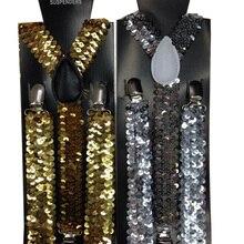 Новинка, модные женские регулируемые подтяжки с y-образной спинкой, черные, золотые, серебристые, металлические блестящие вечерние подтяжки с блестками