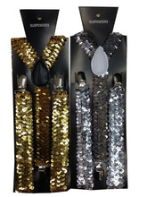 Free Shipping 2015 New Fashion Women Adjustable Clip-on Y-back Black Gold Sliver Metallic Shinny Sequin Suspenders For Party gold sequin metallic bubble ruffle romper headband metallic gold birthday outfit gold sequin halter tie romper