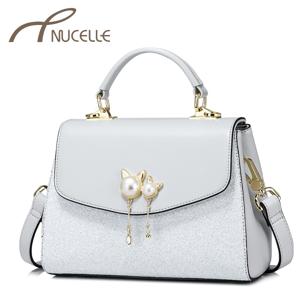NUCELLE Women's PU Leather Handbags Ladies Fashion Cat Ears Messenger Tote Purse Female Elegant All-match Shoulder Bags NZ4071
