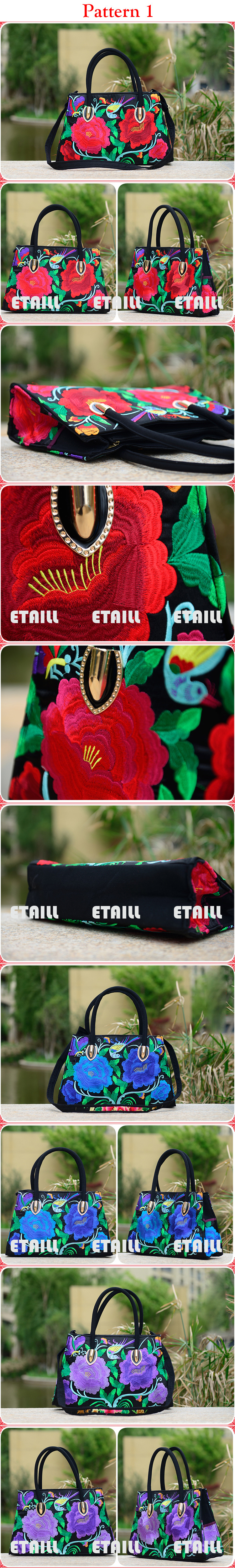 Lady shopping bags embroidered