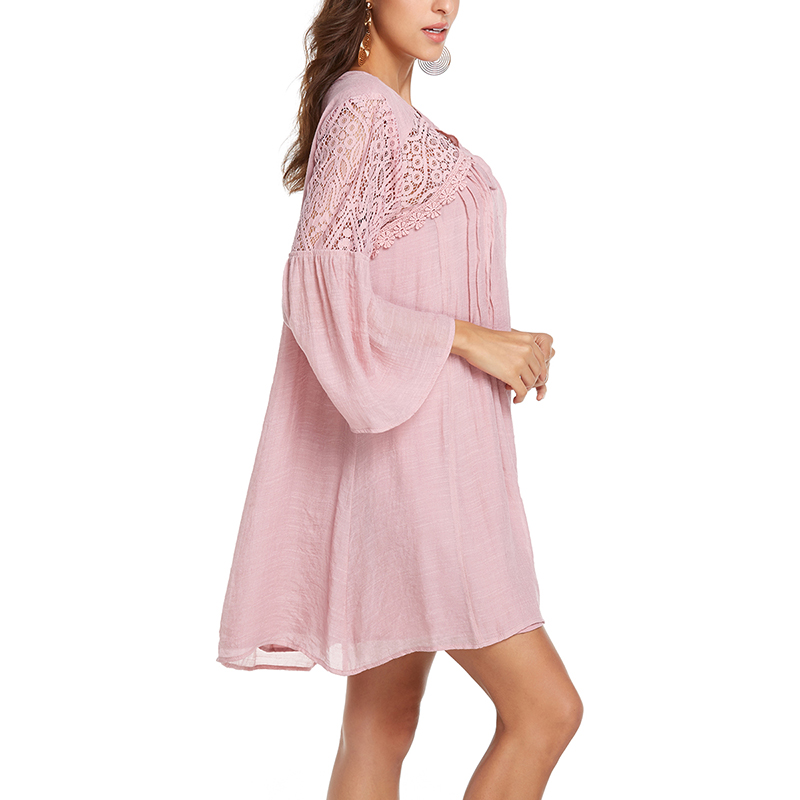 Solid Summer Dress Women Vintage Loose Sexy V-Neck Flare Sleeve Hollow Out Mini Beach Dresses Casual Ladies Vacation Plus Size