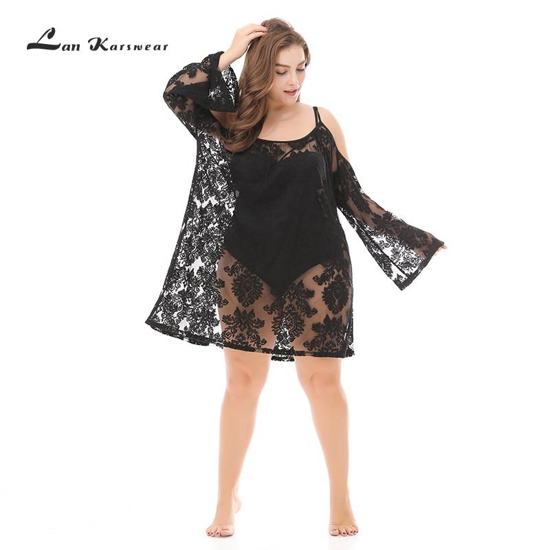 Lan karjure Sexy robes à lacets noir robes de plage femmes robe de plage évider Crochet tunique vêtements de plage Vestido grande taille XXXL