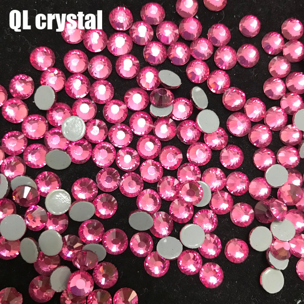 Beautiful Sparkly Hot Pink Flat Back Loose Rhinestones Gems size 2,3,4,5,6mm AAA