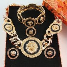 Nuevo Vintage Negro Esmalte Lion Head Mito Medusa Colgante Collar Pendientes Pulsera Anillo Partido de La Manera Fijó 2 Colores