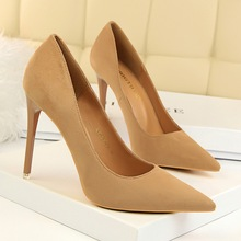 New Women Pumps Shoes Flock Concise Slip-On 10.5cm Thin High Heels Pointed Toe Shallow Solid Sexy Lady Club Party Female Shoes