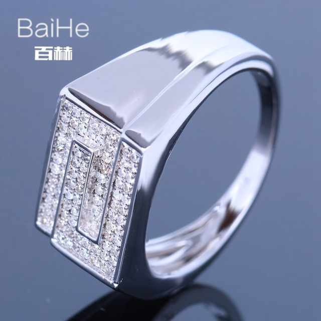 BAIHE Sterling Silver 925 0.4CT Certified H/I Round Cut 100% Genuine Natural Diamonds Engagement Men Trendy Fine Jewelry Ring