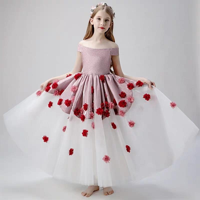 2019Children Girls Elegant Shoulderless Evening Birthday Party Princess Mesh Dress 3 15Yr Kids Teens Host Costumes