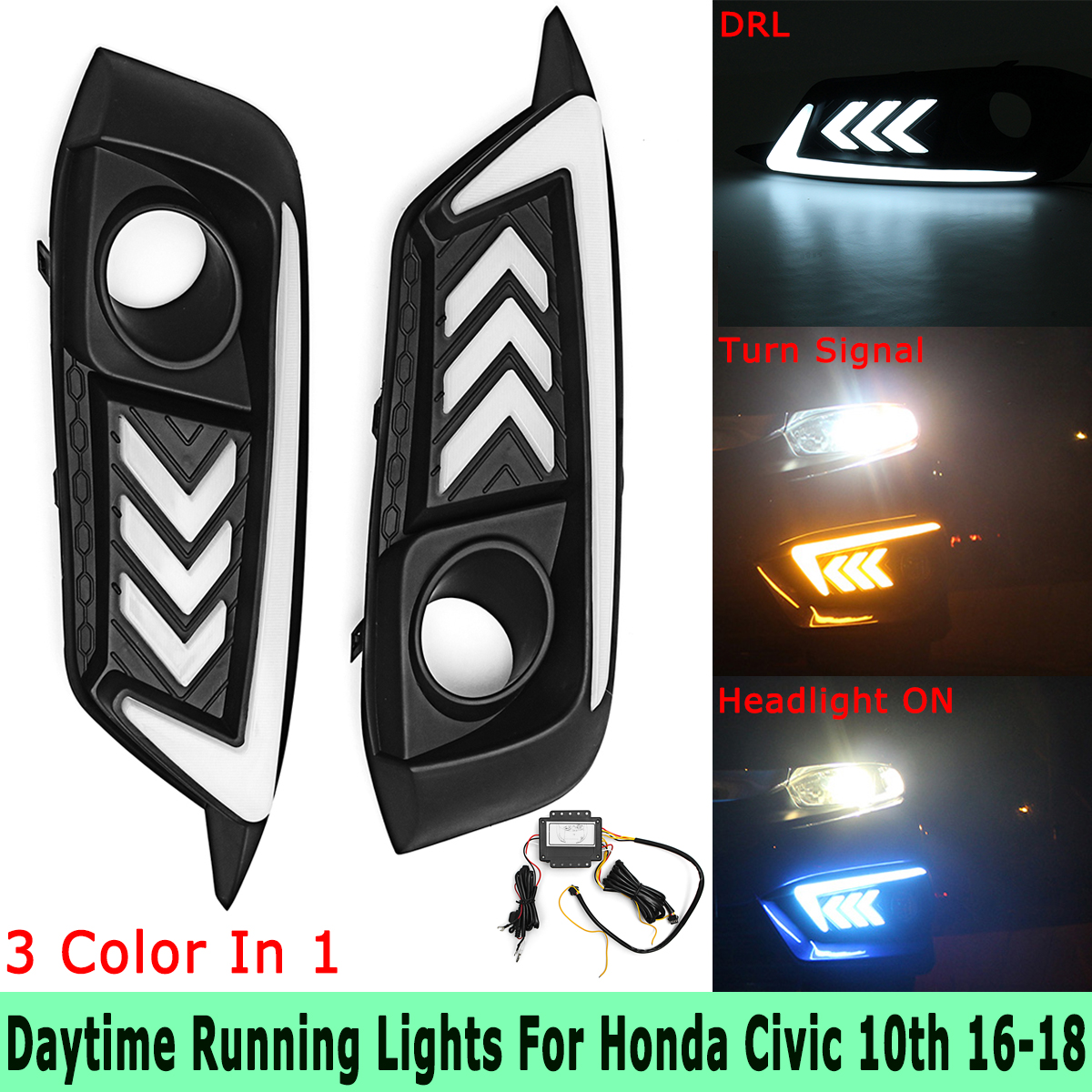 Blue White Yellow LED DRL Headlight Daytime Running Lamps Turn Signal Fog Lights for Honda for Civic 10th 2016 2017 2018 high quality 3 colors white yellow ice blue led car drl daytime running lights fog light with yellow turn signal for honda jade