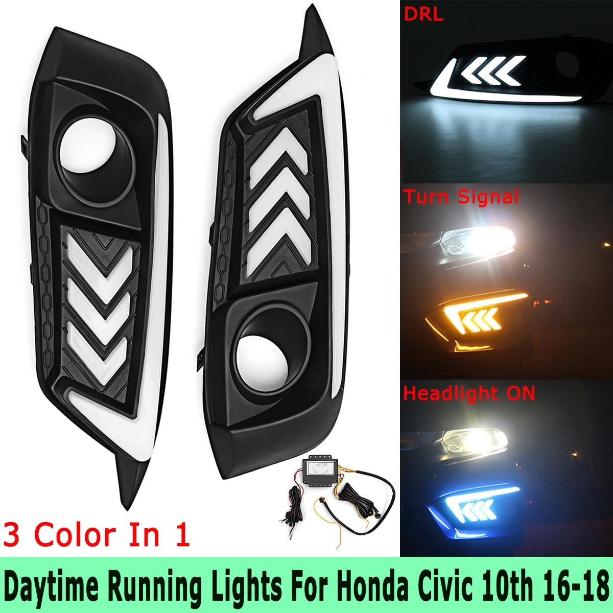 Blue White Yellow LED DRL Headlight Daytime Running Lamps Turn Signal Fog Lights for Honda for Civic 10th 2016 2017 2018 цена