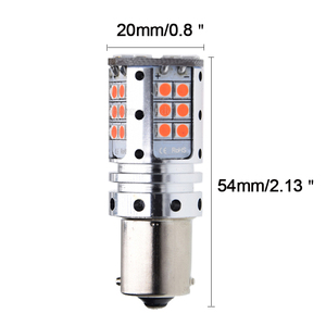 Image 2 - 2Pcs No Resistor Need 1157 BAZ15D 7225 P21/4W Canbus LED Bulbs 3030 SMD RED Car Backup Brake Stop Parking Light Auto Tail Lamp