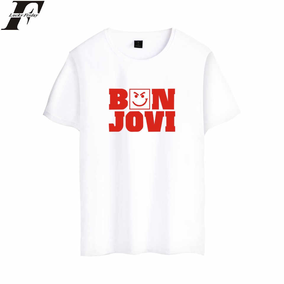 LUCKYFRIDAYF Harajuku Bon Jovi Short Sleeve funny T shirts camisa masculina  Band Music Summer Tees Cotton Casual plus size