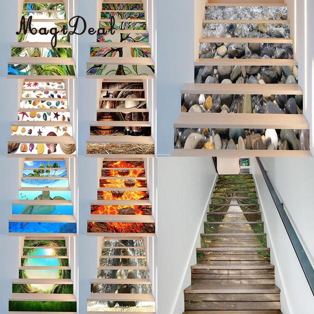 6pcs/set 3D Self Adhesive Stair Risers Stickers Set Staircase Decals  Removable Waterproof Mural Wall