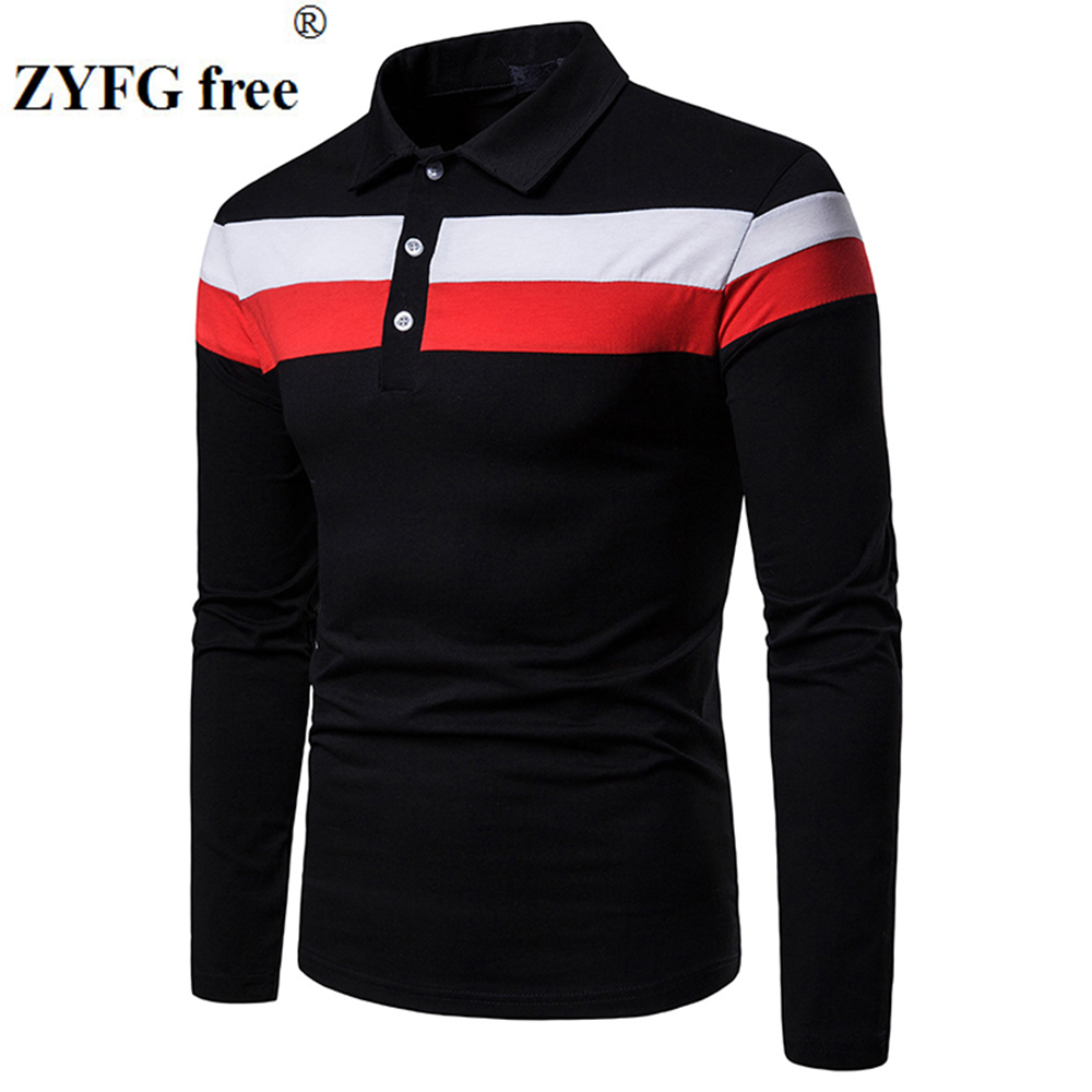 ZYFG free men Polo long sleeve contraster color stitching turn down collar polo shirt simple casual gentleman tops man clothing-in Polo from Men's Clothing