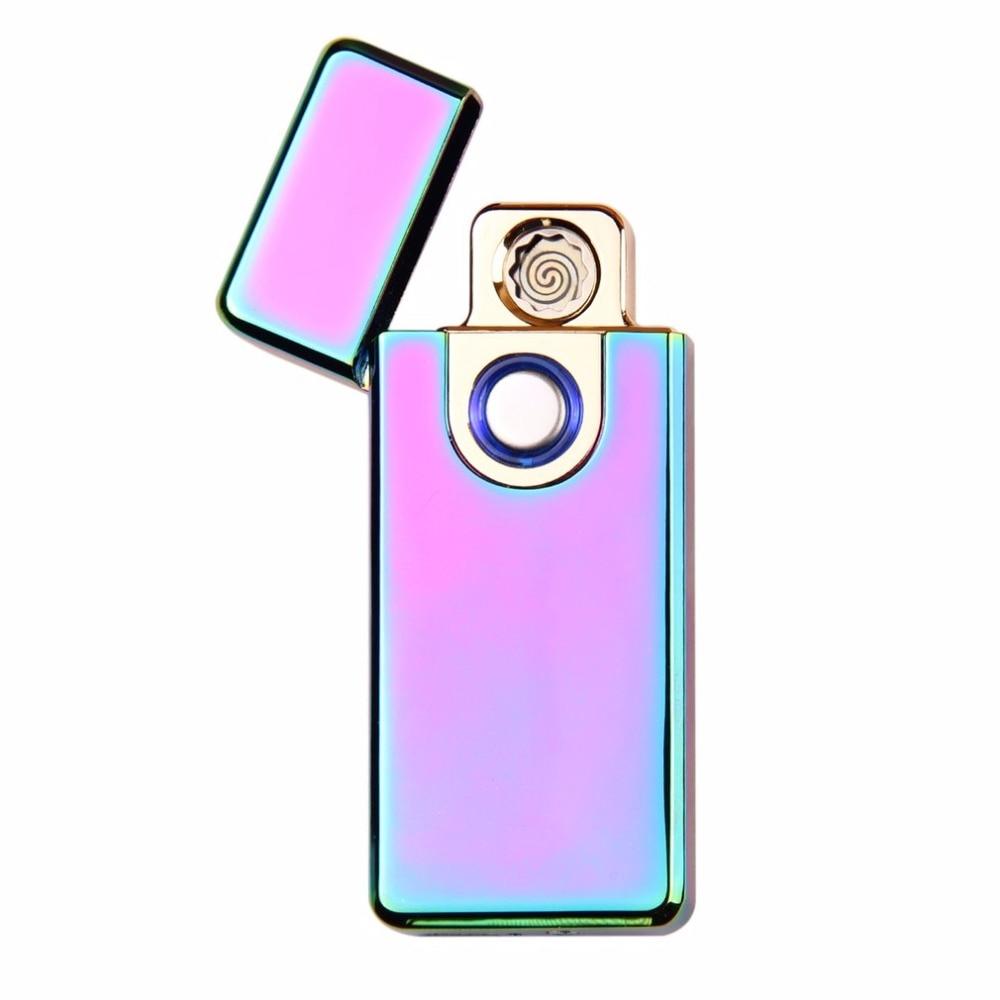 Portable Size Windproof Dual Arc Metal Fingerprint Sensor Touch Electric Cigarette Lighter Flameless USB Rechargeable Lighter