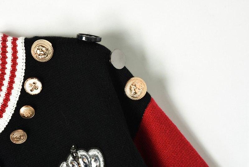Pullover Di Donne Lavorato 2018 Runway A Vintage Modello Delle Cute Maglia Fiore Cat Strisce Bottoni Picture Inverno Verticali Maglione As Novità N8wm0n