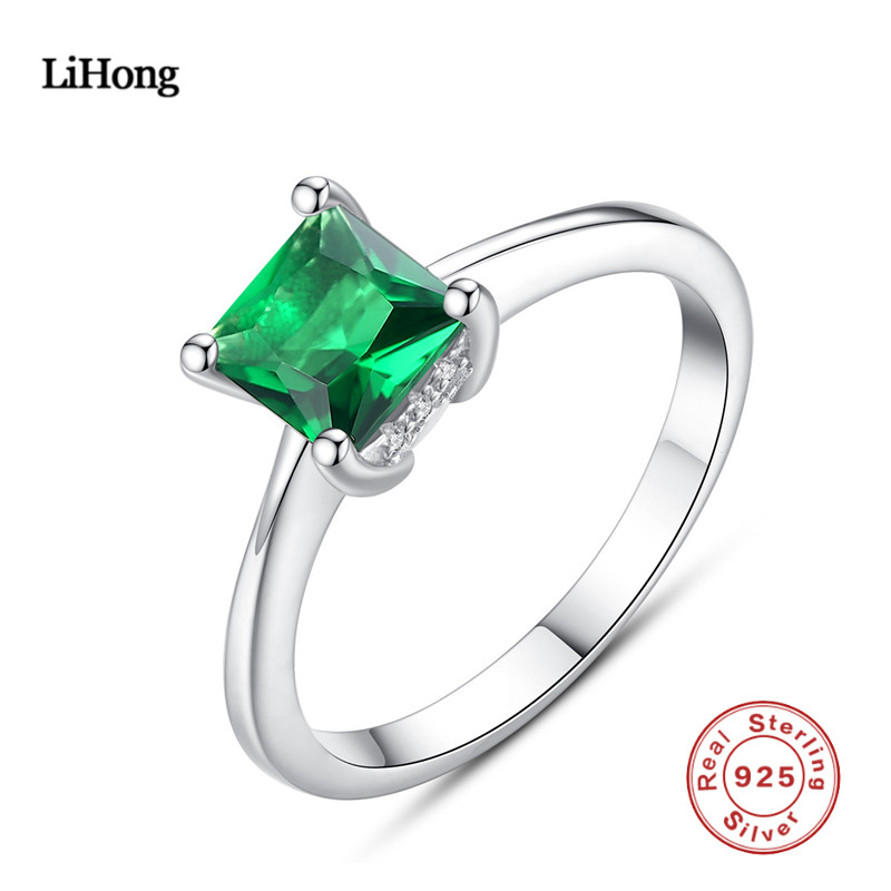 100% 925 Sterling Silver Ring Emerald Silver Ring Woman Charm Jewelry Boutique100% 925 Sterling Silver Ring Emerald Silver Ring Woman Charm Jewelry Boutique
