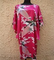 Free Shipping Hot Pink Bathrobe Chinese Women's Silk Rayon Robe Kimono Gown peafowl One Size Thirteen Colors Wholesale