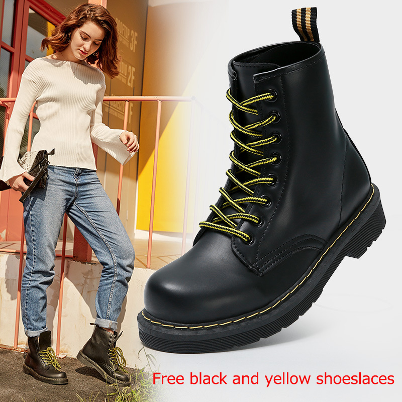Women Ankle Boots Winter Warm Riding Equestr Shoes Woman Fur Inside Artificial Leather Lace Up Shoes Platform Plus Size 43 44