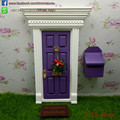 1/12 Scale Miniature Wooden Purple Tooth Fairy Door with Mailbox That Open for Children Toys