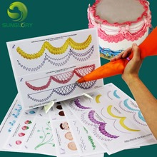 Baking Tools 12PCS Piping Cream Decorating Practice Board 23 Pages Icing Pastry Beginner Paper Including 1PC Transparent Plate
